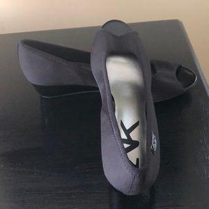AK black peep toe wedge gently worn